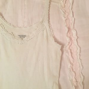 White Tank Top with Floral Lace Trim | Size Small